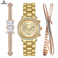 LIANDU Luxury female Watch Women Fashion Gold Bracelet Watch Set Dress Jewelry Clock hours Ladies Casual Quartz Wristwatch