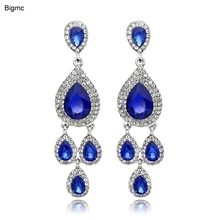 Exaggerated Cubic Zircon Drop Line Long Earrings piercing Cubic Zircon Stud Earrings Women Wedding jewelry Brincos Boucle E1056