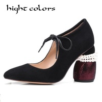Sheepskin Pointed Shaped Pearl Lace Shallow Mouth Thick Heels Shoes Women Pumps Fashion Brand Green Black Mary Janes Lady Shoe