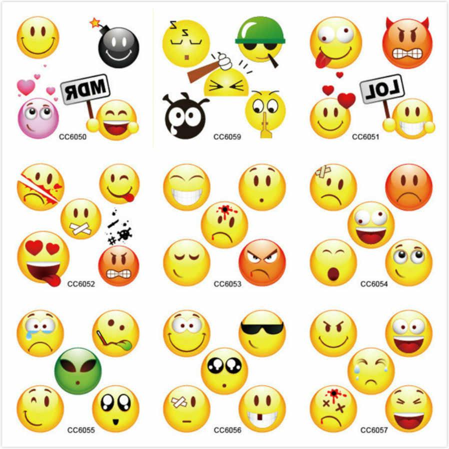 1 Pcs Color Emojis Nail Sticker Nail Art Sticker Set Black Lace Gold Glitter Flower Water Decal Slider Wraps Decor Manicure AS10