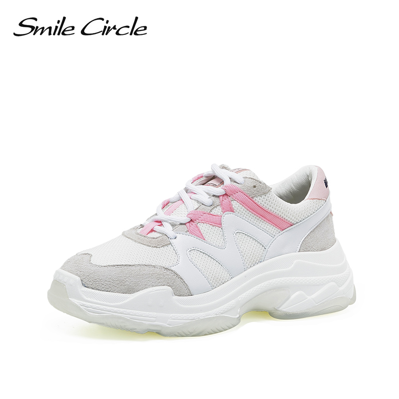 Smile Circle Women Chunky Sneakers Lace-up breathable Mesh casual shoes 2018 Autumn Thick bottom Shoes For women Sneakers smile circle women chunky sneaker breathable mesh lace up thick bottom flat platform shoes for women autumn round toe sneakers