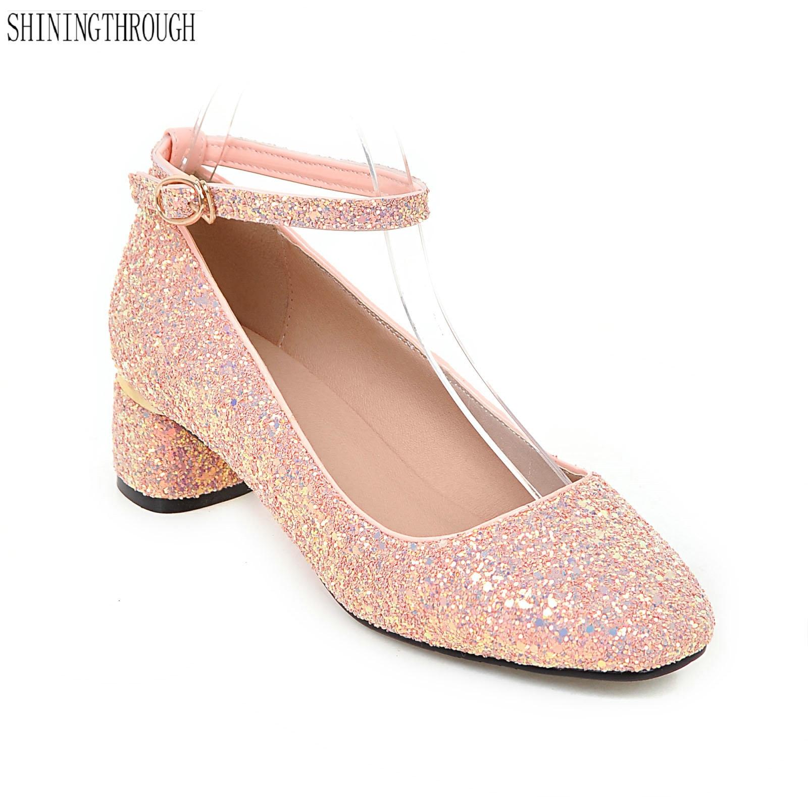 New fashion 2018 square toe pumps women silver stilettos heels shoes ankle buckle low heel pumps gold wedding shoes women цена 2017