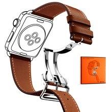 Роскошный ремешок для Apple Watch 38 мм 40 мм 42 мм 44 мм ремешок из натуральной кожи складной браслет с пряжкой ремешок для iWatch серии 1 2 3 4