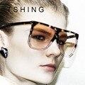 2016 Nova Big Quadro Flat Top Estrela Das Mulheres Óculos de Sol Da Moda Marca Designer Shades Oversized Limpar Gradiente Óculos de Sol Mulher