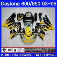 Body For Triumph Daytona600 Daytona 650 02 03 04 05 125HM20 Daytona650 Yellow flames Daytona 600 2002 2003 2004 2005 Fairing kit
