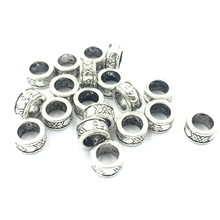 50Pcs Antique Silver Tone Spacer Beads Engraved Flowers Round Metal Craft Jewelry Accessories DIY Finding Charms 8mm
