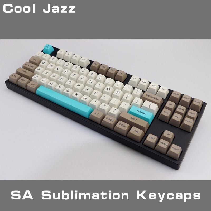 Cool Jazz Retro Beige 134 Keys SA PBT  Keycap Sublimation Key Cap Cherry MX Switch Keycaps For Mechanical Gaming Keyboard