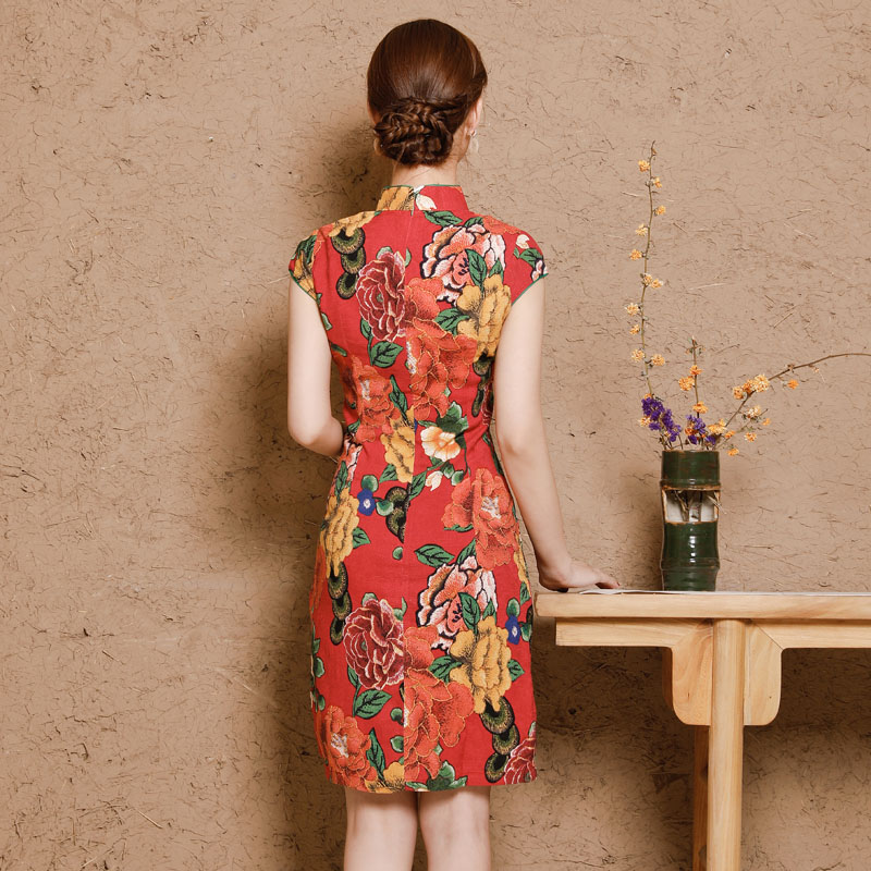 Image 4 - China Dresses Qipao Cheongsam Cotton Linen Mujer Vestidos Plus Size for Women Short 3XL 4XL 5XL Summer New Arrival-in Cheongsams from Novelty & Special Use
