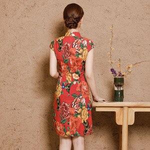 Image 4 - Chiny sukienki Qipao Cheongsam bawełniana pościel Mujer Vestidos Plus rozmiar dla kobiet krótki 3XL 4XL 5XL lato nowy nabytek