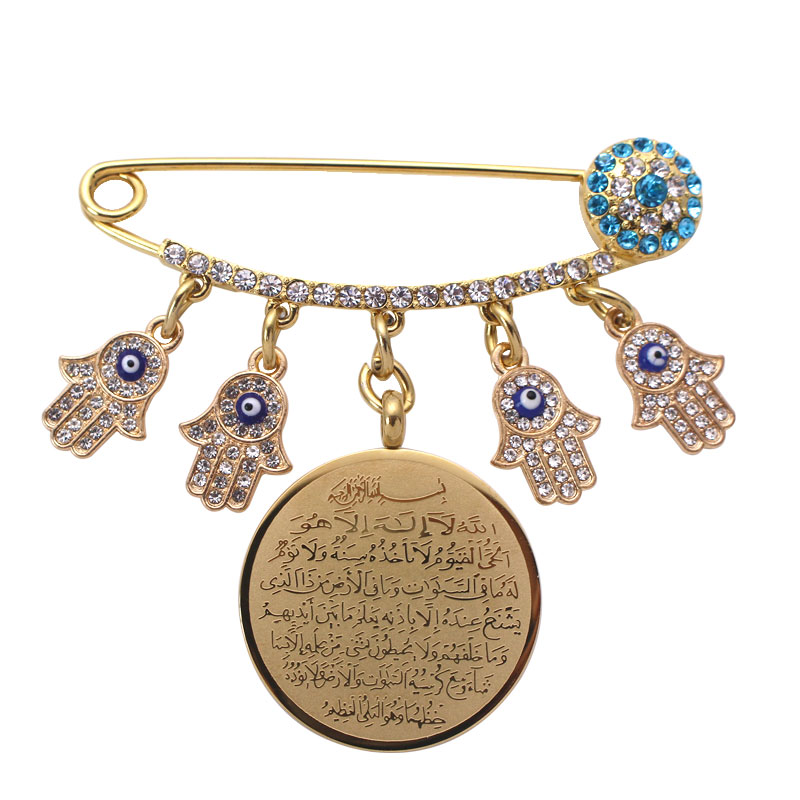 US $7 1 |ZKD AYATUL KURSI Allah Turkish evil eye hamsa hand of fatima  Stainless Steel brooch muslim islam Baby Pin-in Brooches from Jewelry &
