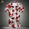 Miuk 2017 new cotton floral tamanho grande 4xl 5xl marca clothing flor rosa de manga curta camisa masculina camisa chemise homme