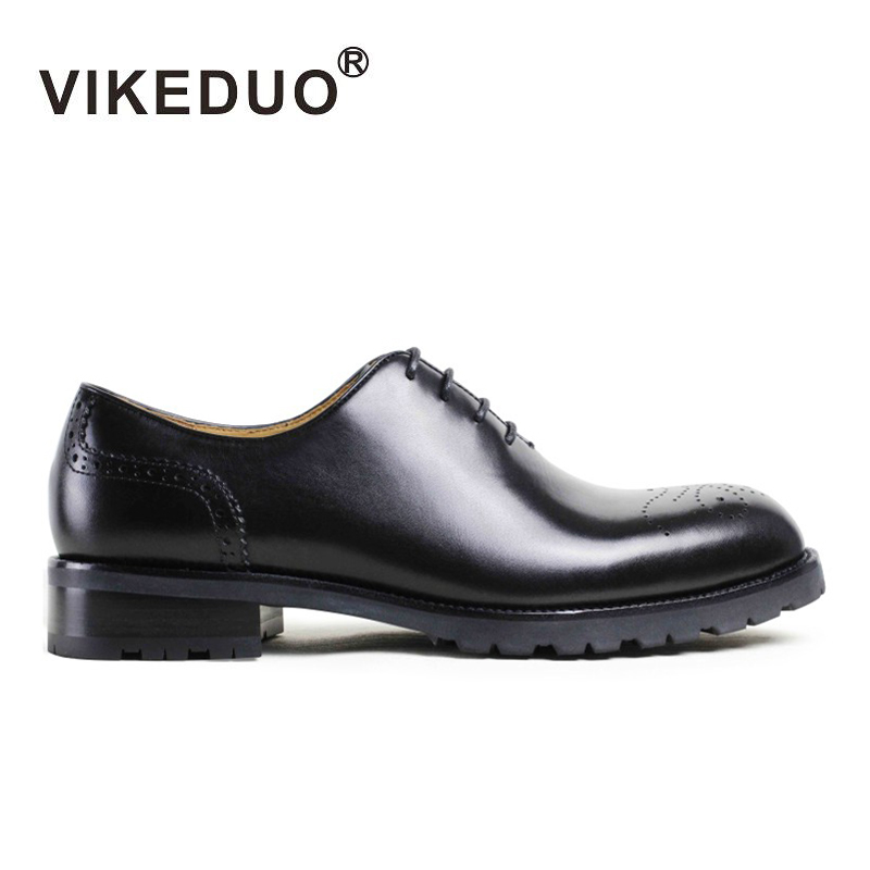 VIKEDUO Brand Vintage Retro Handmade Men's Oxford Shoes Fashion Luxury 100% Genuine Leathe Bullock Carved Footwear For Man Male vintage retro 100
