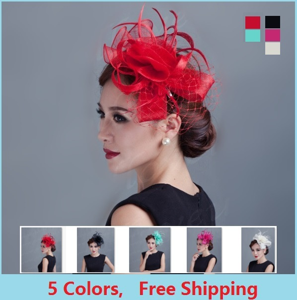Ladies fancy races royal wedding hats and fascinators feather hair  accessories women party tocados sombreros bodas sinamay hats bd3f3a329af