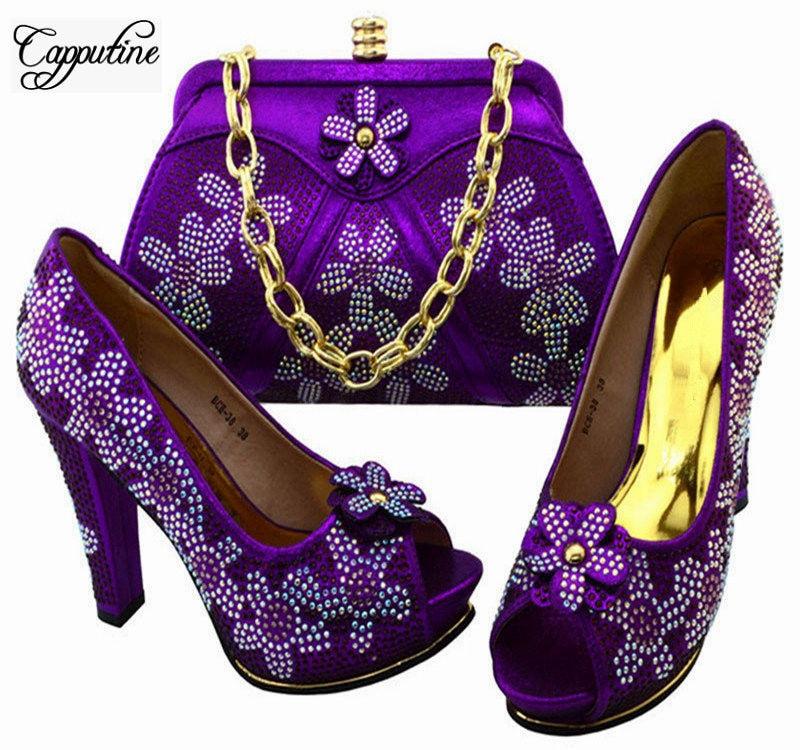 Capputine Nuevo Estilo Africano Mujer Zapatos Y Bolso A Juego Set Italiano Zapatos de Tacones Altos de Color púrpura Y Conjunto de Bolsas Para La Fiesta BCG-38