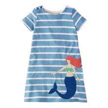 summer 2019 new girl dresses 2- 6 years kids dresses Blue Striped Print princess costume baby girl dresses