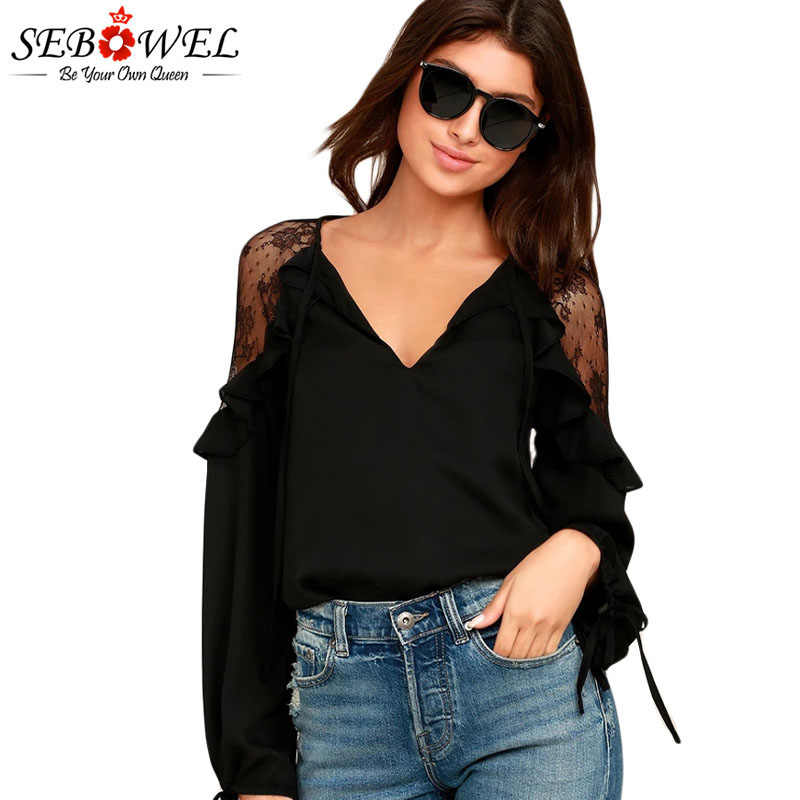 SEBOWEL Long Sleeve Ruffle V Neck Lace Tops Woman White/Black Sheer Tying Cuffs Big Size for Female Blouses Shirts Size S-XXL