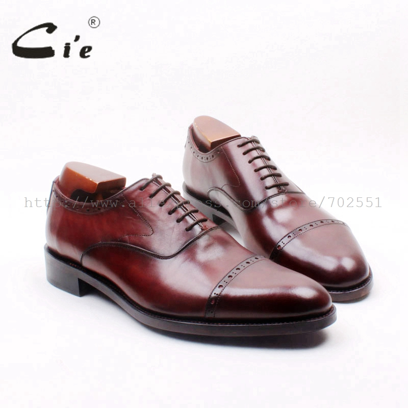 cie Free shipping custom handmade bespoke work & career Adhesive craft calf leather men's dress oxford color brown shoe No.OX716 guide craft магнитный конструктор better builders career people