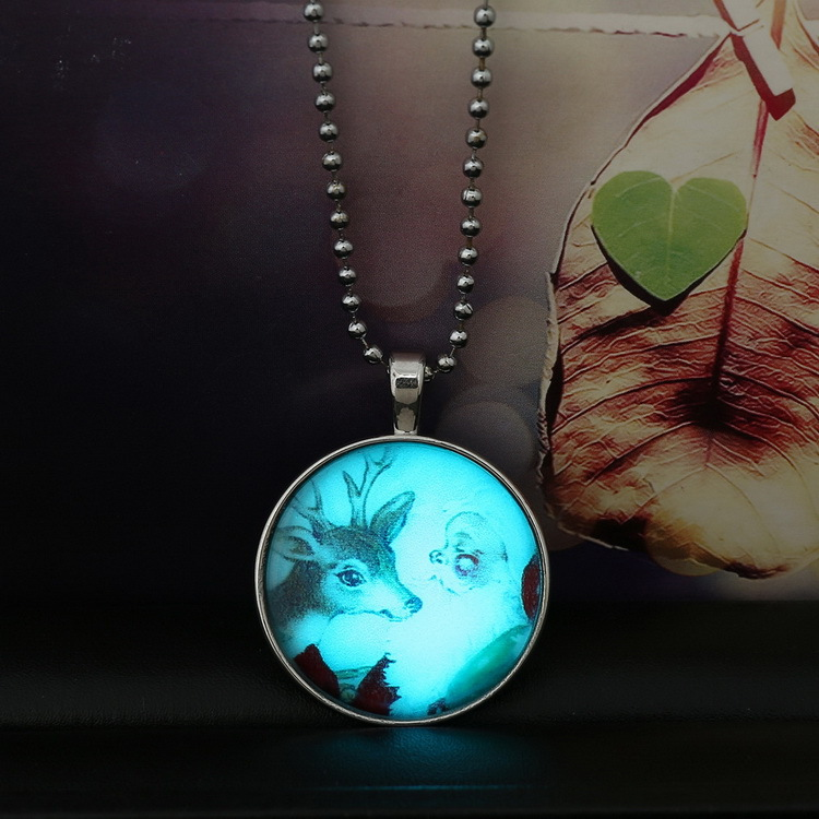 santa claus led night lighted glass cabochon christmas necklace pendants beads reindeer necklaces children gift winter jewelry in pendant necklaces from - Lighted Christmas Necklace