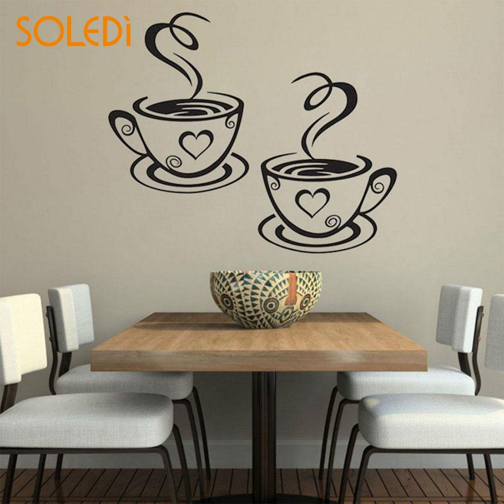 Double Coffee Cups Creative Art Decal Beautiful Design Cafe Wall Stickers Novelty Adhesive Stickers Kitchen Coffee Shop Decor