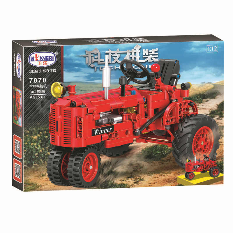 Winner Technic Series 7070 302pcs Classical Tractor Building Block DIY Educational Toys For Children Xmas Gift Compatible Legos