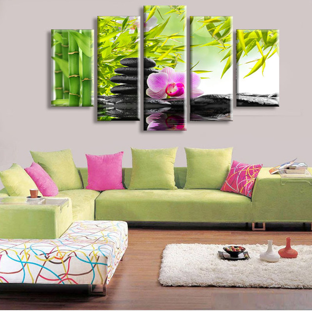 5 Panel Wall Art Botanical Green Feng Shui Orchid Oil Painting Home Decor  Canvas Pictures For