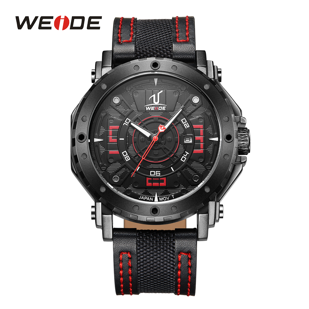WEIDE Analog Watch Date Calendar Date Display Buckle Black Red Leather Strap Band Mens Sports Analog Quartz Movement Wristwatch weide men sport watch black nylon strap quartz movement military watch analog round dial hardlex buckle mens clock wristwatches