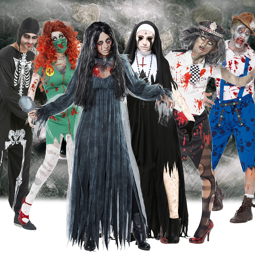 Scary Halloween Costumes Ideas For Adults.Us 16 15 39 Off Scary Halloween Costumes For Adult Men Zombie Nurse Nun Bloody Ghost Bride Middle Ages Women Fancy Dress Cosplay Costumes In