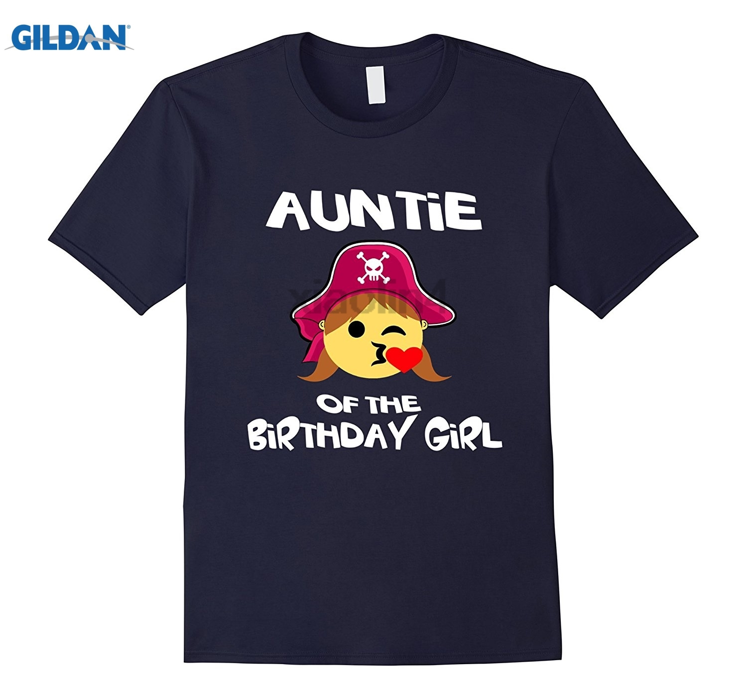 GILDAN Auntie of Birthday Girl Pirate Emoji T-Shirt Kiss Heart Tee Fun Design Custom Print Short Sleeve T-Shirt