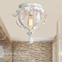 Американский деревенский Железный потолочный светильник с одной головкой  белый коридор  балкон  скандинавский креативный вход  потолочны...