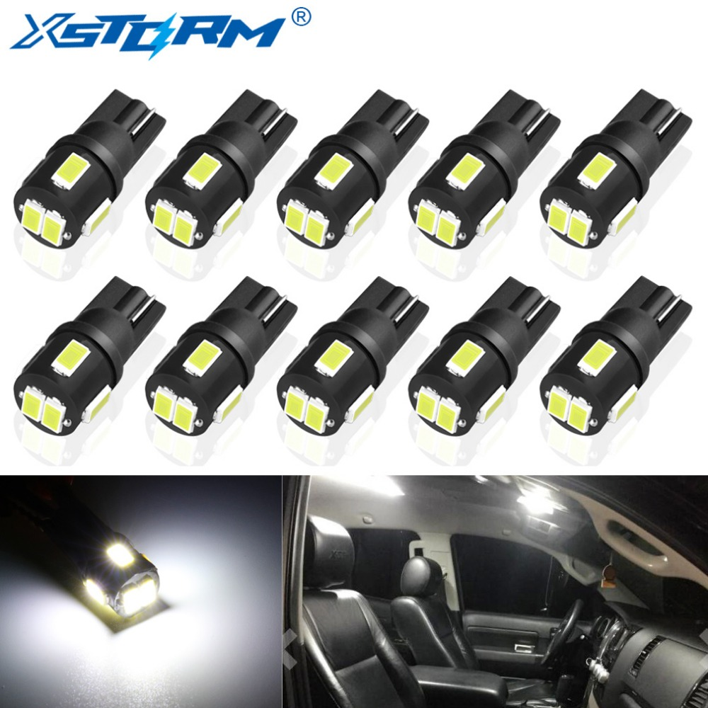 10Pcs T10 W5W Led Bulb 194 168 Car Interior Dome Reading Lamp License Plate Light Clearance 6000K White 12V Auto Led Bulb 1x t10 led bulb w5w car drl 194 168 clearance lights reading interior replacement license plate lamp 12v 6000k white car styling
