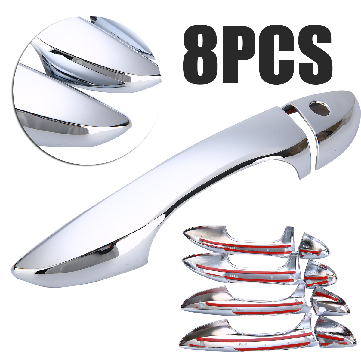 New Arrival 8pcs/set ABS Chrome Side Door Handle Car Exterior 4-Doors Handle Cover Trim For Toyota Corolla 2014-2017