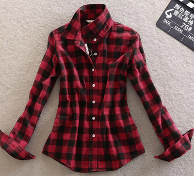 80 Color Flannel Women Plaid Shirts Brit Casual Long Sleeve Shirt ...