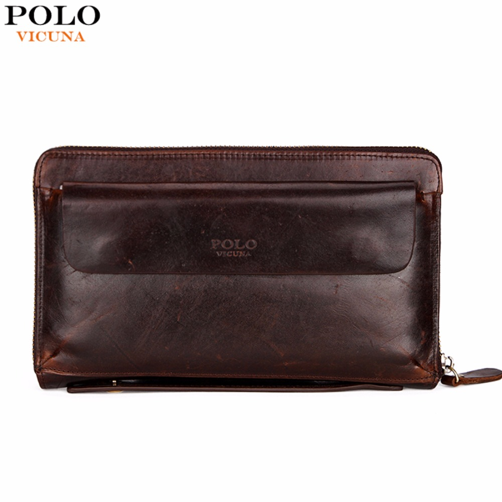 VICUNA POLO Luxury Genuine Leather Mens Clutch Wallet Multifunction High Capacity Business Man Wallet Male Clutch Bag Hot Sale