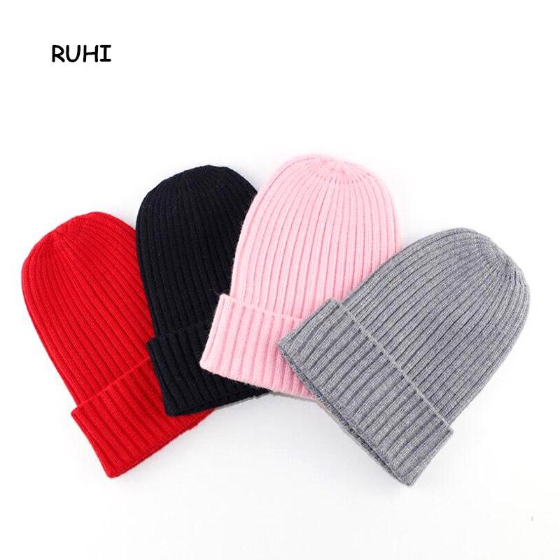 RUHI 2017 Winter Autumn Baby 0-4 Y Girl Boy Hat Children Girl Kids Beanie Solid Ear Caps For Girls Striped Girls Hats BMZ49
