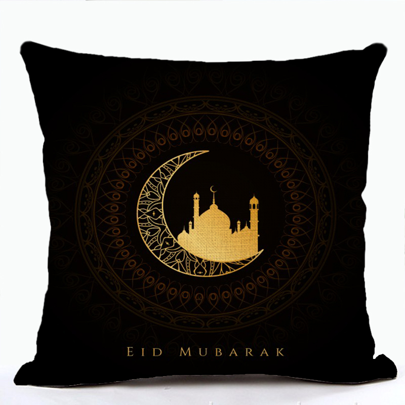 Eid Mubarak Cushion Cover Islam Ramadan Kareem Moon Lantern Mosque Culture Art Cushion Covers Sofa Couch Linen Pillowcase