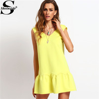Sheinside Ladies Ruffle V Neck Backless Drop Waist Elegant Mini Dresses 2016 New Casual Summer Style