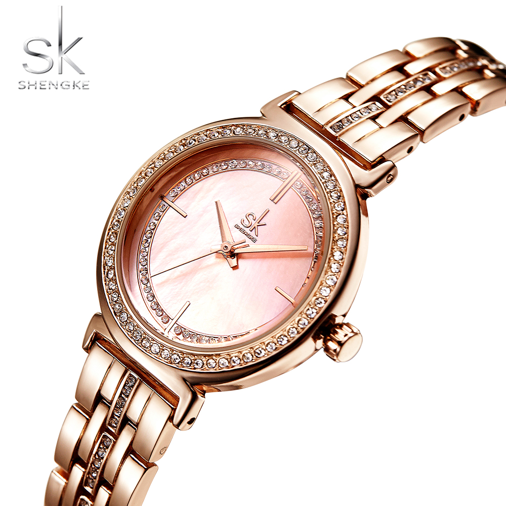 Shengke Rose Gold Watch Women Watches Top Brand Luxury Women Wrist Watch SK Fashion Bracelet Ladies Watch Clock Reloj Mujer