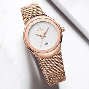 Image 4 - NAVIFORCE zegarek moda damska sukienka zegarki kwarcowe Lady zegarek wodoodporny ze stali nierdzewnej prosta dziewczyna zegar Relogio Feminino