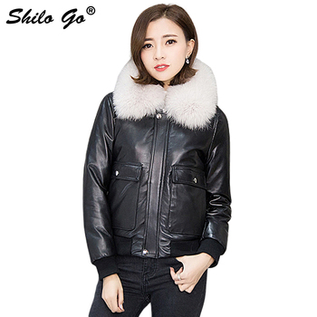 SHILO GO Down Leather Jacket Womens Winter Fashion sheepskin genuine leather Jacket color fox fur collar loose locomotive jacket Косуха