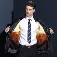 Новинка 2017 года Для мужчин из искусственной кожи Мех животных куртка Для мужчин пальто норки Мех животных воротник пальто Для мужчин Кожаны