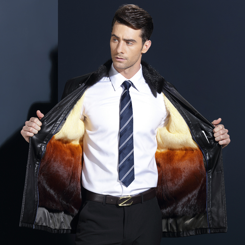 2017 New Men's PU Leather Fur Jacket Men Coat Mink Fur Collar Coat Men Leather Jackets Rabbit Iner Coat Thickened Winter