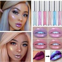 цена Glitter Liquid Lipstick Lip Gloss Lint Crystal Glow Laser Holographic Lipsticks Jelly Pigment Glitter Lipgloss Tube Makeup