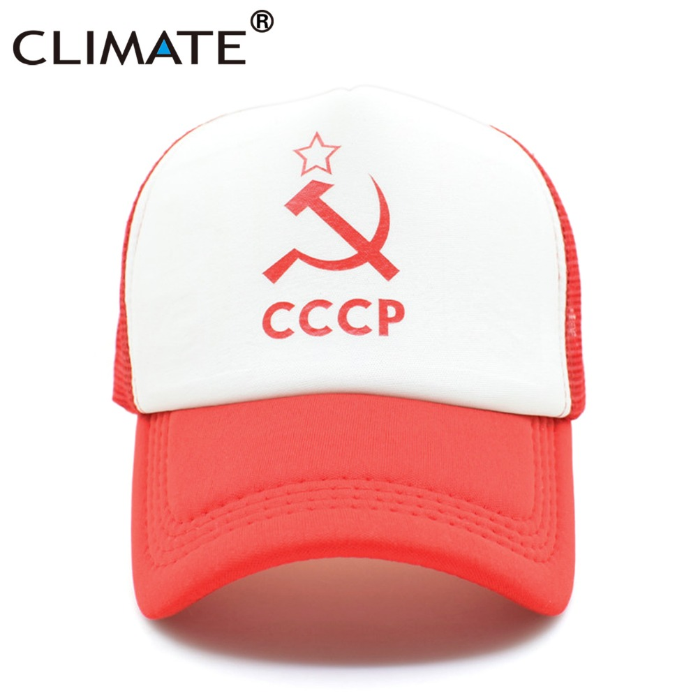 CLIMATE Men Women Trucker Caps CCCP Soviet Red Army Summer Cool Cap Lenin former Soviet Union Mesh Adjustable Cool Net Caps Hat climate new nice women pure solid color heavy washed flat top caps lady red cool adult adjustable army hat cap for