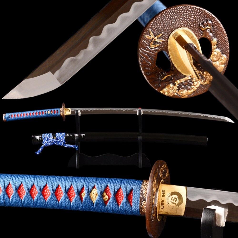 Almofada de Lustro da mão Japonês Katana Espada Samurai Completa Tang Lâmina Muito Afiada 1095 Aço Carbono Temperado Barro Espada Verdadeira Espada
