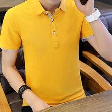 Camisa Polo dos homens de moda Verão 2018 de Manga Curta Slim Fit camisa  pólo Lapela 7622dd4b43cf7