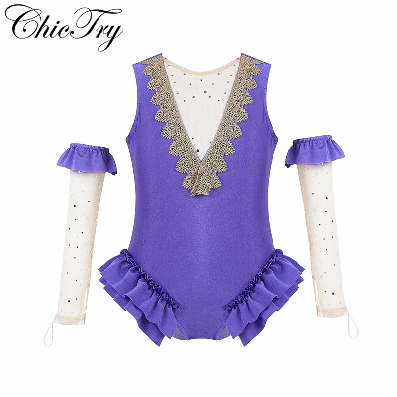 Kids Girls Showman Role Play Fancy Party Cosplay Costumes Leotard Ballerina Tutu Performance Dress Mesh Leotard With Arm Sleeves