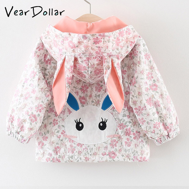 1ef0d3c3404 VearDoller 2018 Autumn New Arrival Kid Clothes Carton Rabbit Embroidery  Floral Print Ear Patchwork Hooded Coats Girls Clothes