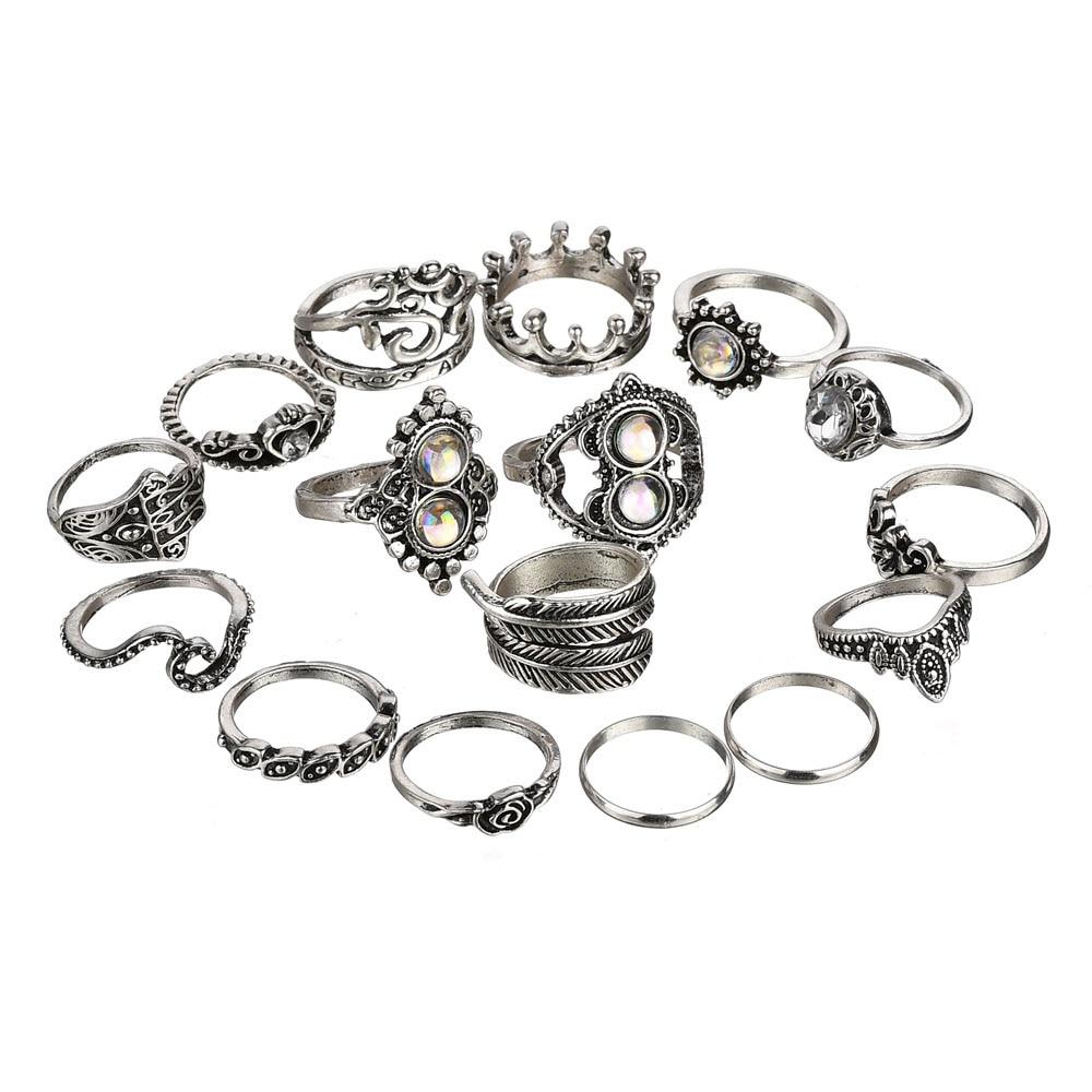 Terreau Kathy Vintage Stone Opal 16PCS/Rings Set Bohemian Geometric Antique Silver Color Knuckle Shield Ring Set For Women