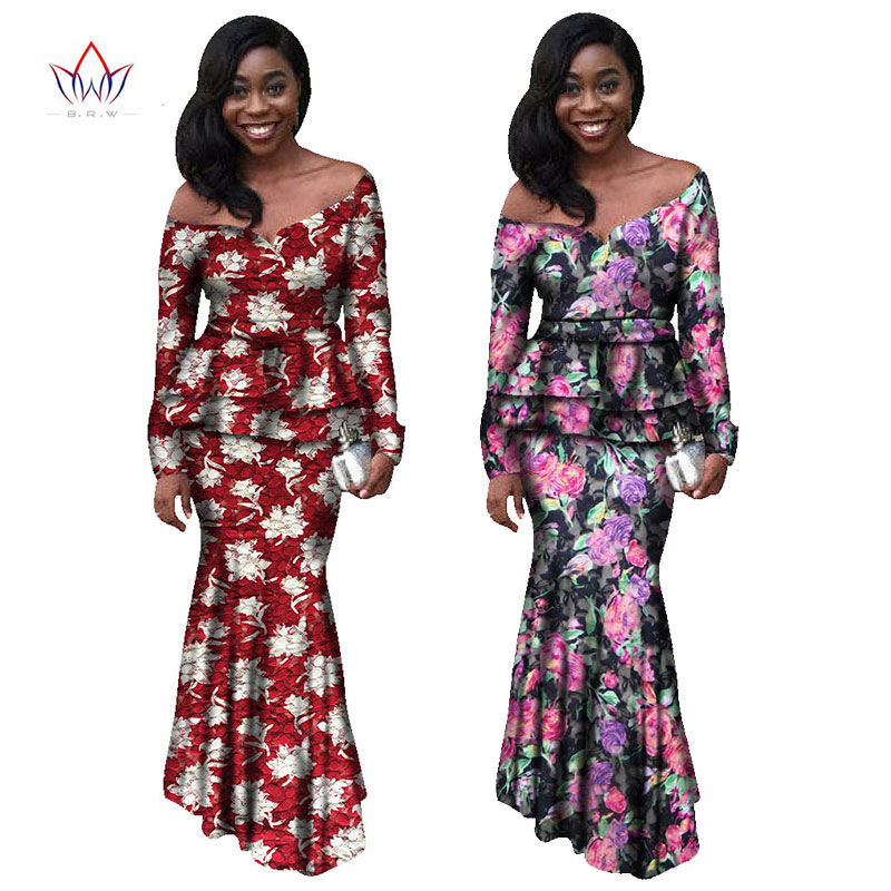Africa Style Clothing Printed font b Shirt b font 2 Piece Dashiki Dress Vestidos African Bazin