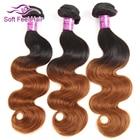 Soft Feel Hair 1/3/4 Pcs Ombre Brazilian Hair Body Wave Bundles T1B/30 Ombre Human Hair Weave Bundles Brown Remy Hair Extensions